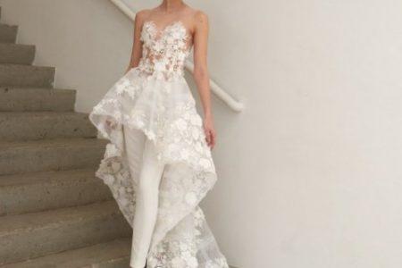 فستان العروس الابيض بالبنطلون صيحة رائجة لهذا الموسم